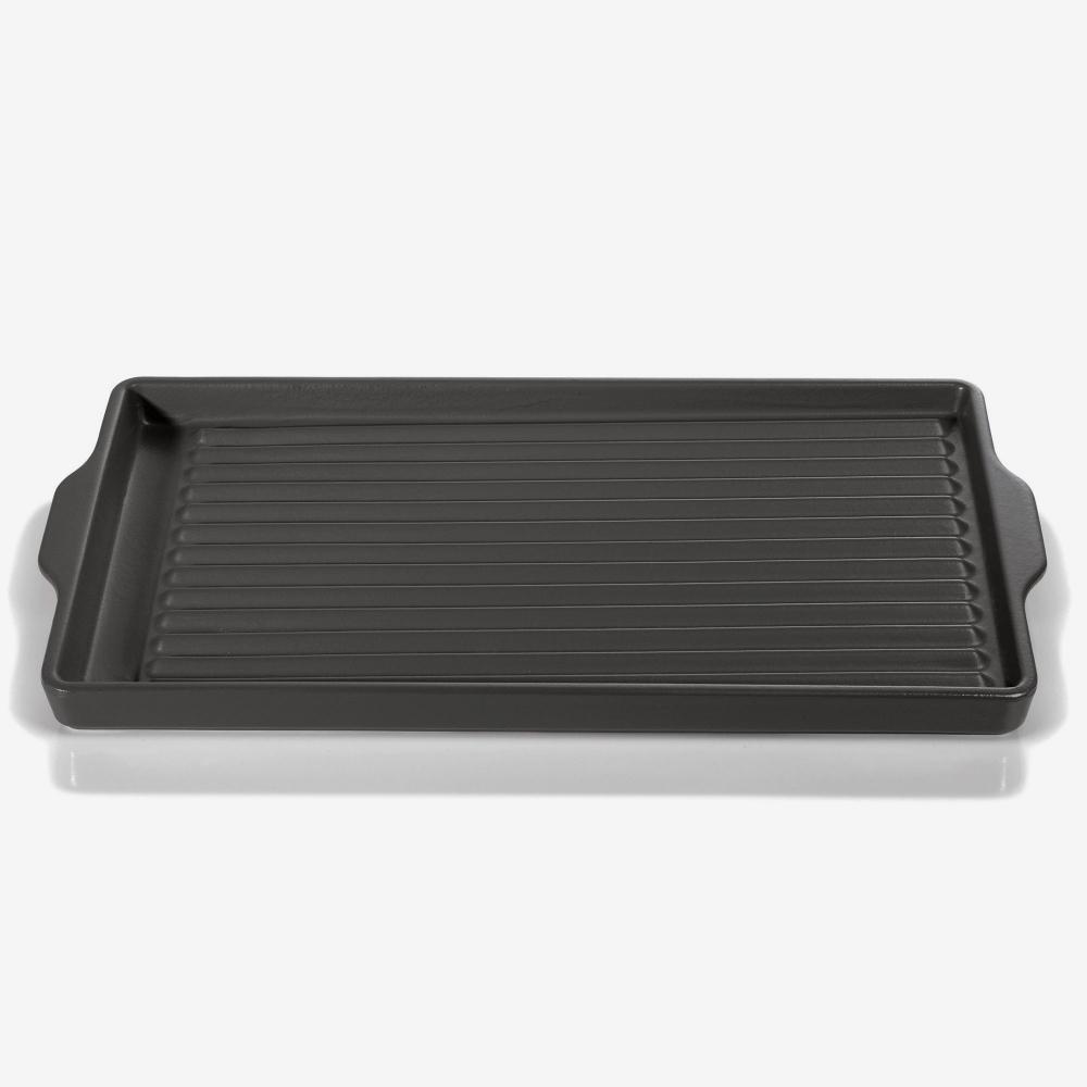 Piastra grill rettangolare antracite, dim. 45,5X24cm